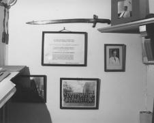 man's study wall, Myersville, Maryland, 1977