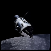 042, Command Module America From Lunar Module Challenger, Apollo 17, December 7-19, 1972, digital c-print, 24.5 x 24.5 inches