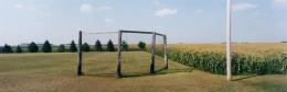 Baseball backstop, cornfield, highway 50, Stearns County, Minnesota