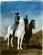 Distanced 1979 vintage Van Dyke print w/applied pastels