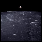 043, Lunar Module Intrepid Prepares for Descent, 69 Miles Altitude, Apollo 12, November 14-24, 1969, digital c-print, 24.5 x 24.5 inches
