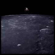 043, Lunar Module Intrepid Prepares for Descent, 69 Miles Altitude, Apollo 12, November 14-24, 1969, digital c-print, 24.5 x 24.5 inches