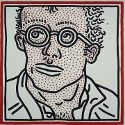 "Keith Haring, Untitled, 1985Acrylic on canvas48 x 48 inches (121.9 x 121.9 cm)""K. Haring Feb.2 - 85 Self Portrait For Tony"" …"