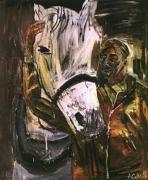 Albert Oehlen, Selbsportrait mit Pferd,1984