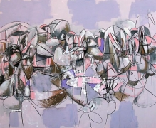 Purple Compression, 2011Acrylic, charcoal, pastel on linen 74 x 90 inches