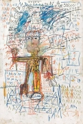 "Jean Michel BasquiatMan with Microphone, 1982oil stick on paper, 60"" x 40"""