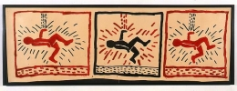 Keith Haring, Untitled, 1980Enamel and ink on oaktag23 1/2 x 69 inches (59.7 x 175.3 cm)