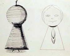 """Mike Kelley  2 Studies for """"Meditation On A Can of Vernors"""", Lighthouse-Lantern 2, 1981"""