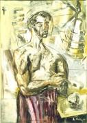 Albert Oehlen  Self-portrait with Paintbrush, 1984