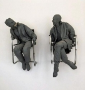 Juan MuñozTwo Men with Harmonica, 2001resin, paint and steel77 x 55 x 45 inches (195.6 x 139.7 x 114.3 cm.)