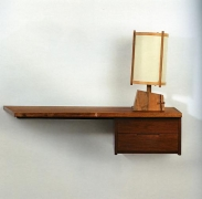 Georg Nakashima, Hanging Wall Shelf with Drawers, 1960