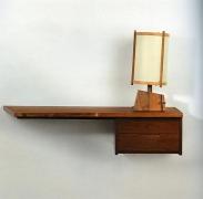 Georg Nakashima, Hanging Wall Shelf with Drawers, 1960
