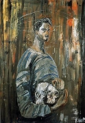 Albert Oehlen Selfportrait with Two Skulls, 1984