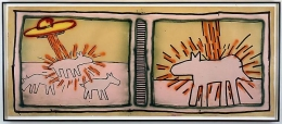 Keith Haring, Untitled, 1980Acrylic, spray and sumi ink on paper48 x 116 inches (121.9 x 294.6 cm)