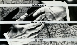 Barbara Kruger, Untitled (Admit nothing blame everyone be bitter), 1988photograph and type on paper5 5/8 x 9 5/8 inches (14.…