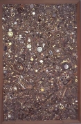 Mike Kelley, Memory Ware Flat #21, 2001paper pulp. tile grout, acrylic, miscellaneous beads, buttons, jewelry on wood panel7…
