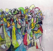 Compression II, 2011Acrylic, charcoal, pastel on linen72 x 74 inches