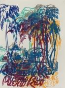 Enoc Perez, Untitled (blue-mustard-vermillion)
