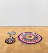 Mike KelleyUntitled, 1990found yarn octopi, afghansthree parts, ∅ 19 5/8 inches (49.8 cm.); 19 5/8 inches (49.8 cm.); 49 1/2…