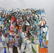 Compression I, 2011Acrylic, charcoal, pastel on linen 72 x 74 inches