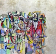 Compression IV, 2011Acrylic, charcoal, pastel on linen72 x 74 inches