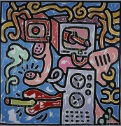 "Keith Haring, Media Girl with Cigarette, 1988Acrylic on canvas120 x 120 inches (304.8 x 304.8 cm)signed on the overlap ""Medi…"