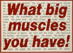 Barbara Kruger, Untitled (What big muscles you have!), 1983photograph and type on paper6 x 8 1/8 inches (15.2 x 20.6 cm)