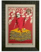 BG-222 Poster for the Grateful Dead 1970 Benefit by Randy Tuten. Concerts by Jefferson Airplane, Quicksilver, Santana featured a red-cloaked barrister skeleton with ball and chain and an audience of skulls looking on