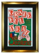 Poster for Grateful Dead & Santana, April 27-28, 1991 at Sam Boyd Stadium in Las Vegas. Hand dealing cards with gambling chips