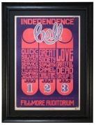 "BG-14 poster called Independence Ball by Wes Wilson. 1966 Grateful Dead concert poster also advertised the band called ""Love"" and Big Brother & The Holding Company, Quicksilver Messenger Service, The Great Society, The Charlatans and Sopwith Camel"