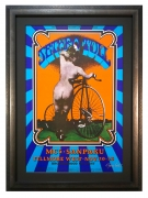 BG-203  Original Jethro Tull 1969 concert poster by Randy Tuten featuring an old time nude Pinup girl from behind and Bicycle