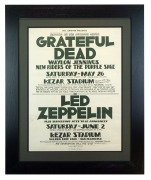 1973 Led Zeppelin concert poster for show at Kezar in San Francisco and next week Grateful Dead and Waylon Jennings 1973 poster