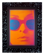 NR-12 Poster for the Chambers Brothers, 1967, by Victor Moscoso. The original inspiration for the Almost Famous movie poster. Woman's face in orange with sunglasses on.