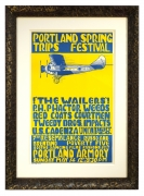1967 Portland Spring Trips Festival poster featuring an airplane and The Wailers, PH Phactor, Tweedy Brothers at Portland Armory