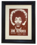 Vintage 1970 Jimi Hendrix small poster for performance in Dallas TX