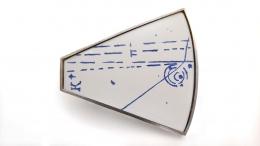 Ann Parkin, Brooch - Particle Shower, Etched Blueprint #2