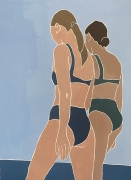"""Beach Walk: acrylic paint on unstretched canvas : 27 1/2 x 39"""""""