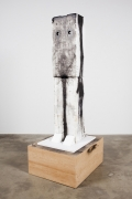 Ripley, 2011. Styrofoam, clay, wire, acrylic paint, wood, newsprint, China marker, 81 x 34.125 x 28 inches.