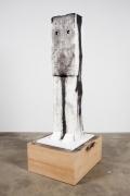 Ripley, 2011. Styrofoam, clay, wire, acrylic paint, wood, newsprint, China marker, 81 x 34.125 x 28 inches.