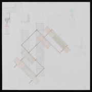 Richard Rezac.Study for Root's Plan (Monadnock), 2020. Graphite and Colored Pencil on Grid Paper. Image Dimensions: 29 x 29 inches.