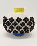 Oval with Black Flowers, 2020, Glazed Ceramic