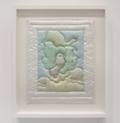 Barbara Rossi, Quilt Picture, 1971. Color etching and aquatint on white satin, 21.25 x 18.25 inches.