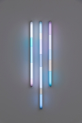 Spencer Finch.Haiku (Winter),2020. 3 fluorescent fixtures and filters, 48 x 16 inches.