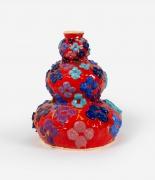 Wabi-sabi Triple Gourd (Red, Blue, Violet),2021, Glazed ceramic and gold resin