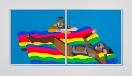 Derrick Adams/Floater No. 58/two rafts/2017/Acrylic paint, pencil and fabric on paper