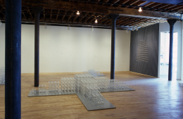 Installation view at Rhona Hoffman Gallery, Sol LeWitt, New Structures, Wall Drawings, Drawings, 1980