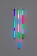 Spencer Finch. Haiku (Spring), 2020. 3 fluorescent fixtures and filters, 48 x 16 inches.