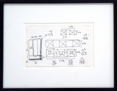 Sol Lewitt.Unknown,1967. Ink on paper, 13.5 x 17 inches, framed.