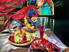 Natalie Frank.Still Life with Lobster (Grimm Ballet),2019. Gouache and chalk pastel on paper, 22 x 30 inches.