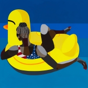 Derrick Adams. Floater 95, 2020. Acrylic paint, fabric on paper collage, on paper, 50 x 50 inches.